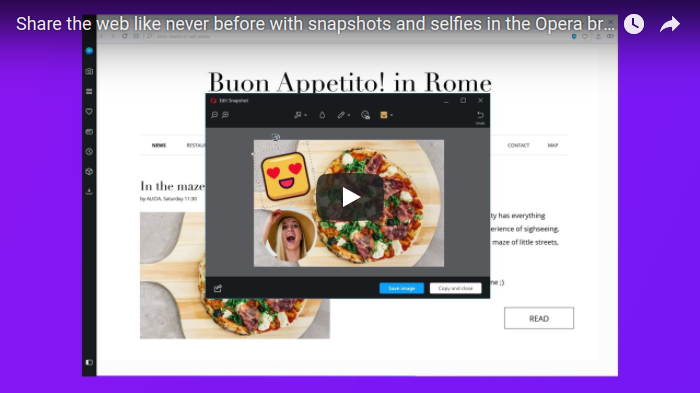 Share the web like never before with snapshots and selfies in the Opera browser